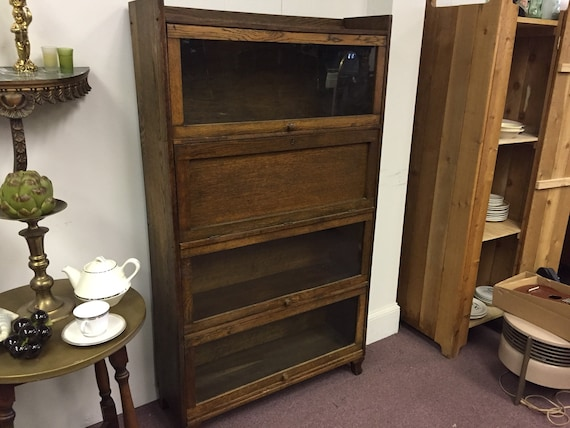 image 0 - Vintage Barrister Bookcase Or Lawyer Bookcase With Drop Down Etsy