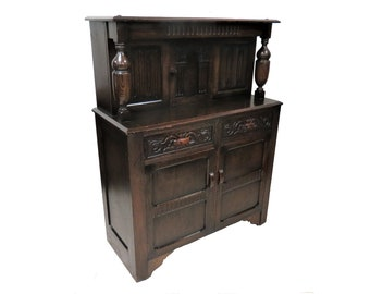 Storage Cupboard | Antique English Carved Dark Oak Tudor Style Court Cupboard