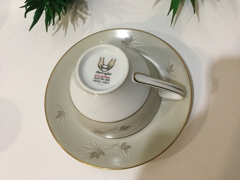 Zylstra Handcrafted handmade Select fine China Frosted leaves teacup tea set made in Japan