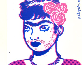 Screenprinted Sticker // Mono-eyebrow // Portrait