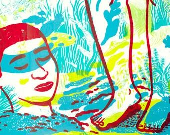 Screenprint poster/ surreal underwater world / Illustration
