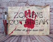 Zombie outbreak, fall decor, halloween docoration, recycled wood, wall decor, distressed, gift idea, cottage chic, fall sign