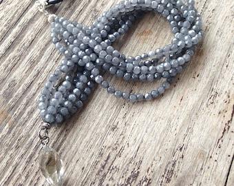 Grey agate necklace with Swarovski drop pendant on leather cord. Necklace-pendant. Swarovski necklace. Grey necklace. Multi strand
