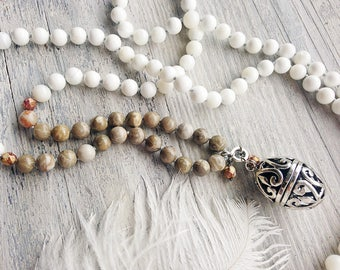 White shell necklace / Long beaded necklace / Natural shell knotted necklace / Wish box / Harmony ball necklace / Locket necklace