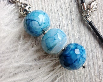 Blue agate pendant / Fire agate necklace / Gemstone leather necklace