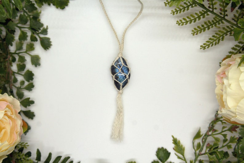Macrame Polished Labradorite Necklace with Silver Toggle Clasp and Tassel