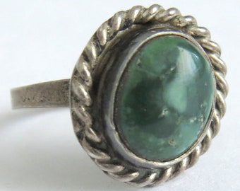 Vintage Green Turquoise Sterling Silver Ring Size 5