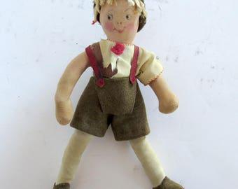 """Vintage Antique Austrian German Boy 8"""" Cloth Doll"""