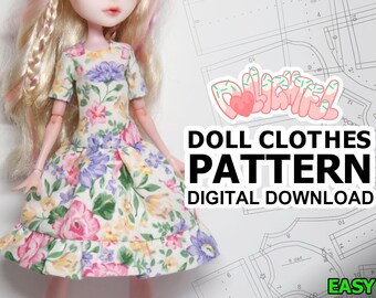 3d543994a DIGITAL Download Doll Clothes Pattern: Standard Dress for MH + EAH Girls