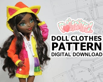 DIGITAL Download Doll Clothes Pattern: Oversized Hoodie for MH + EAH Girls