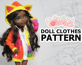 Doll Clothes Pattern: Oversized Hoodie for MH + EAH Girls