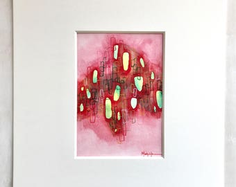 5x7 watercolor painting matted to an 11 x 14