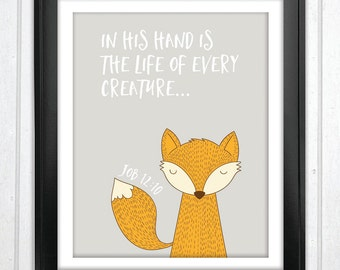 INSTANT DOWNLOAD In His hand is the life of every creature Christian Nursery Decor Bible Verse Print Nursery Art Scripture Print