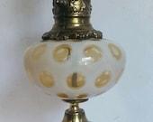 Mid Century Fenton Coin Dot Table Lamp Honeysuckle Opalescent Wood Brass