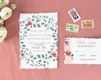 Wedding Invitation - Floral - Invite Suite - Roses - Wildflowers -5x7 - RSVP - Semi Custom - Digital Download - Jen K Calligraphy
