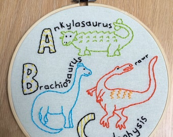 Dinosaur ABC embroidery hoop // nursery playroom kids room decor dinosaurs dino