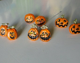 Kitschy Jack O'Lantern Post Back Earrings - Four Styles to Choose From!