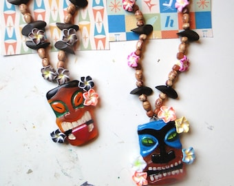 Tiki Mask Necklaces - Two Styles to Choose From!