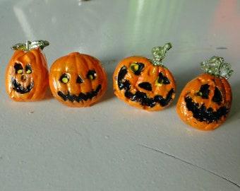 Kitschy Jack O'Lantern Pins - Set of Four