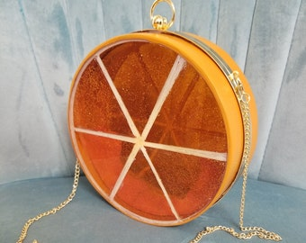 Handmade Resin Orange Citrus Slice Canteen Purse