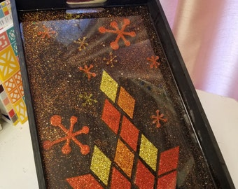 Midcentury Style Campfire Themed Resin Tile Wooden Tray