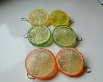 Citrus Slice Earrings! Orange, Lemon, & Lime! Pierced or Clip-On styles