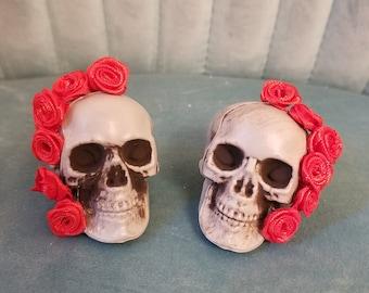 Halloween Skulls & Roses Earrings - Pierced or Clip-On Styles!