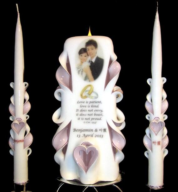 Candlelight Wedding Invitations: Poem/Invitation/Photo Wedding Unity Candle Set. 100
