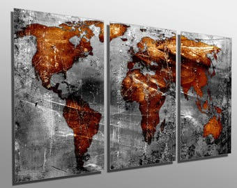 Copper world map etsy metal prints abstract copper gray world map 3 panel split triptych metal wall art on hd aluminum prints for decor interior design gumiabroncs Image collections