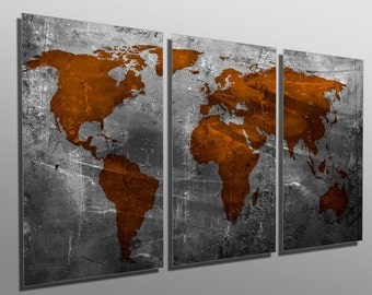 Metal prints abstract teal world map 3 panel split metal prints abstract russet world map 3 panel split triptych metal wall art on hd aluminum prints for wall decor interior design gumiabroncs Images