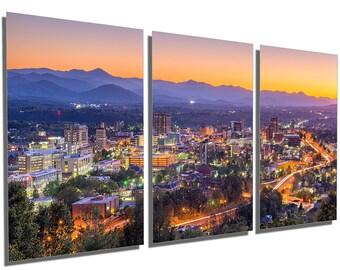 50f2f0bb8f Metal Prints - Asheville, North Carolina Skyline Wall Art - 3 Panel split,  Triptych - Metal HD aluminum prints wall decor interior design