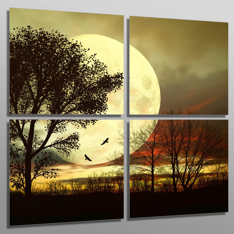 Metal Prints Full Moon behind a tree 4 Panel split Quad   Etsy