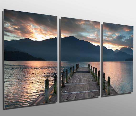 metal prints cloudy lake docks during sunset 3 panel etsy