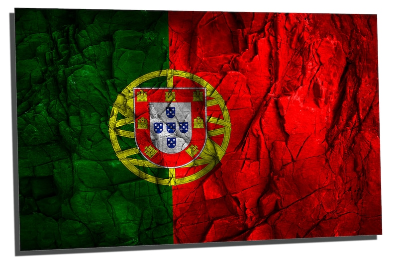 Metal wall art HD aluminum print for home decor interior design Metal Prints Portugal country Flag Stone Effect -3 Panel split Triptych