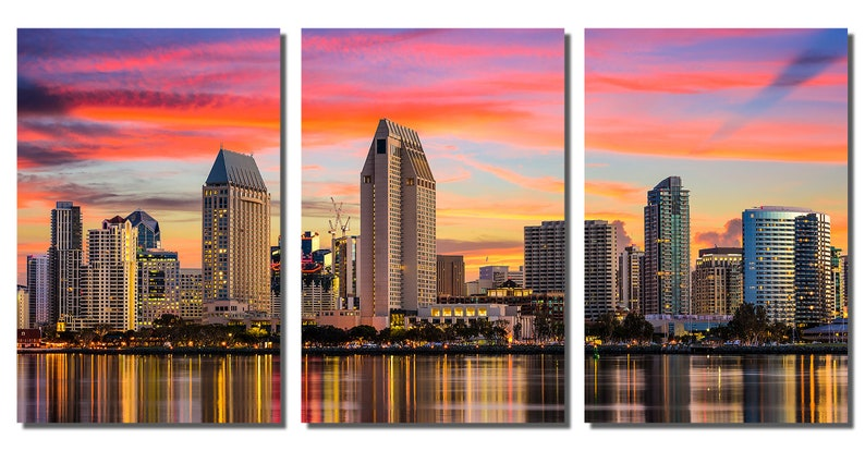Triptych- Metal wall art HD aluminum prints wall decor interior design California Skyline Sunset San Diego 3 Panel split Metal Prints