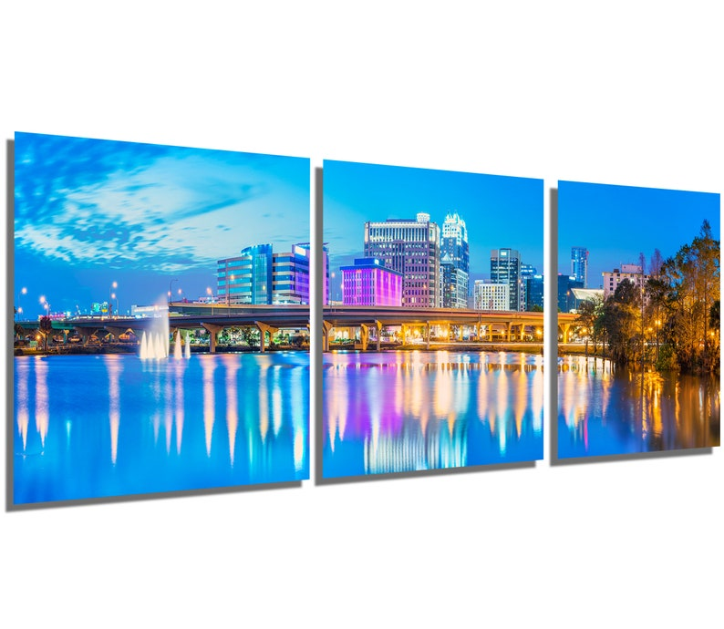 Metal Print Orlando Florida Panoramic Skyline Wall Art 3