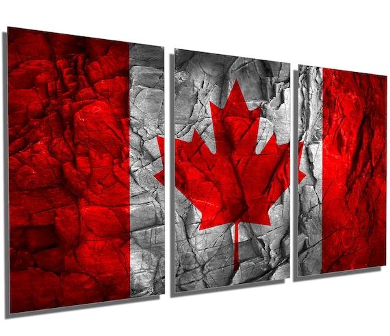 Metal Prints Canada Flag Stone Effect 3 Panel Split Triptych Metal Wall Art Hd Aluminum Prints For Home Decor Interior Design