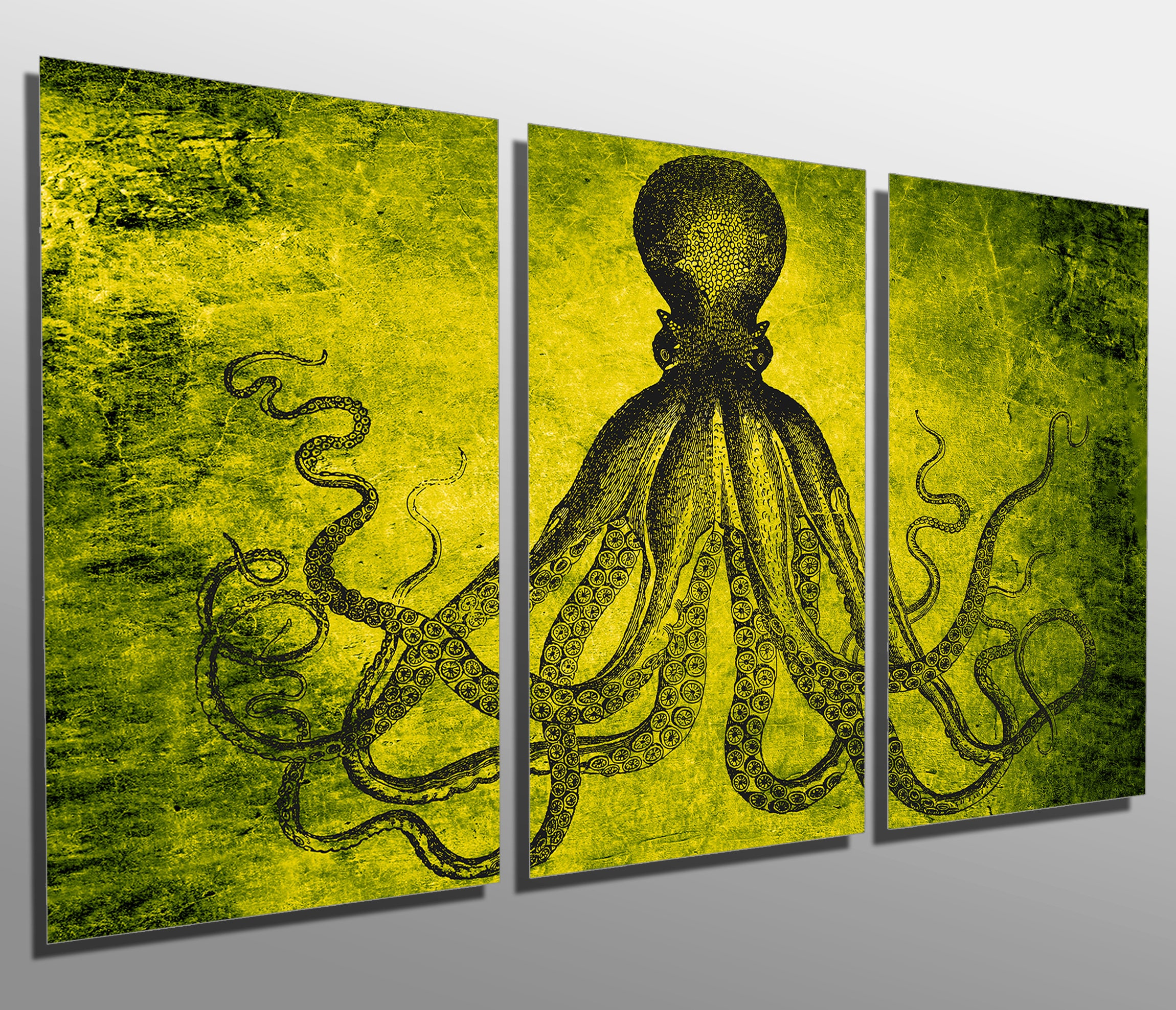 Metal Print Lord Bodner Octopus Triptych Yellow Green 3 | Etsy