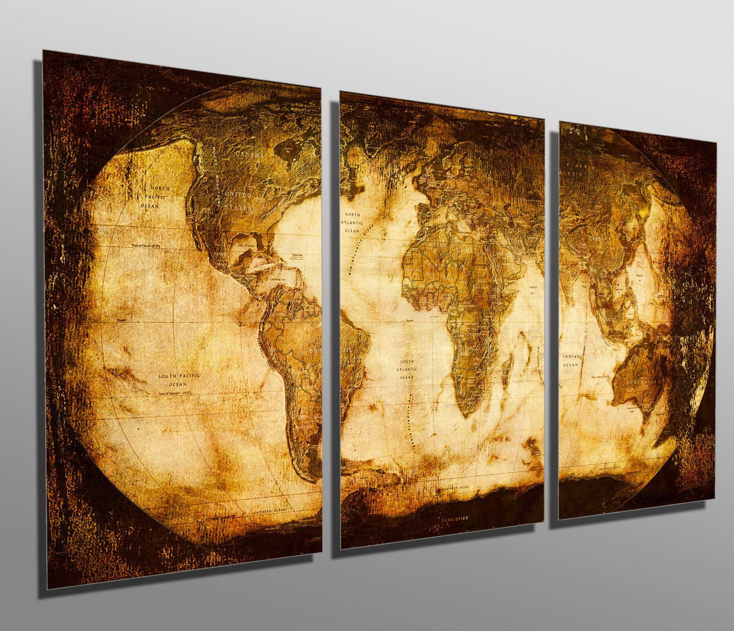 Metal Prints Rustic World Map 3 Panel split Triptych | Etsy