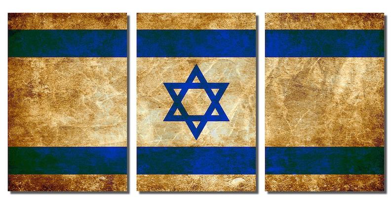 3 Panel split Metal wall art Metal Prints Israeli Flag Rustic Grunge Triptych HD aluminum prints for home decor /& interior design