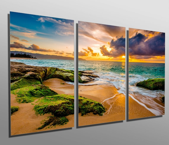 metal prints hawaii beach golden sunset 3 panel split | etsy