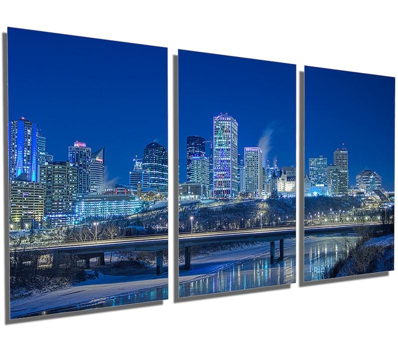 Metal Print Edmonton Skyline Wall Art Alberta Canada 3 Panel Split Triptych Metal Hd Aluminum Prints Home Decor Interior Design