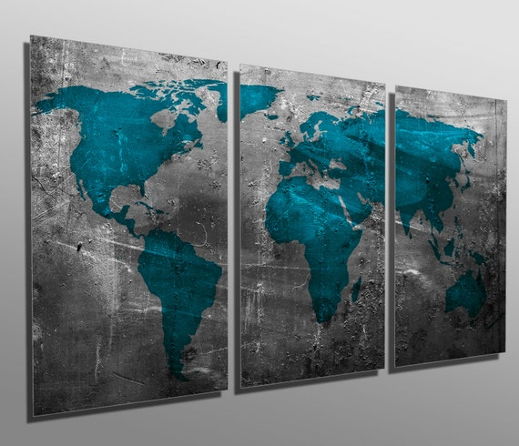 3 Panel Split Art World Map Canvas Print Triptych For: Metal Prints Abstract Teal World Map 3 Panel Split