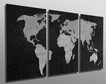Gray world map etsy metal print black and gray world map 3 panel split triptych gumiabroncs Gallery
