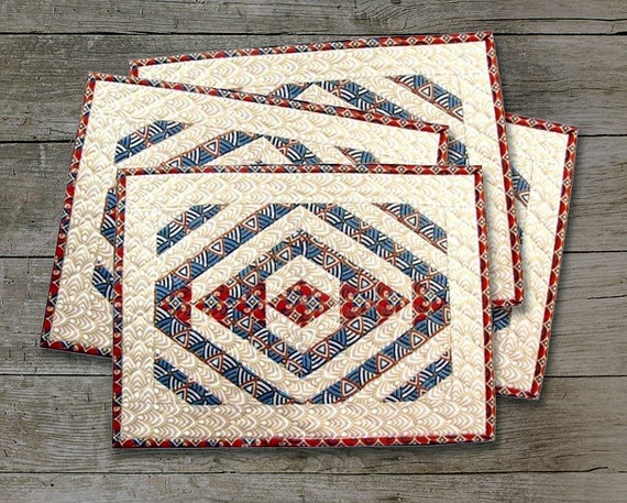 Teepee Trails Quilted Placemats Pattern Paper Pieced Etsy