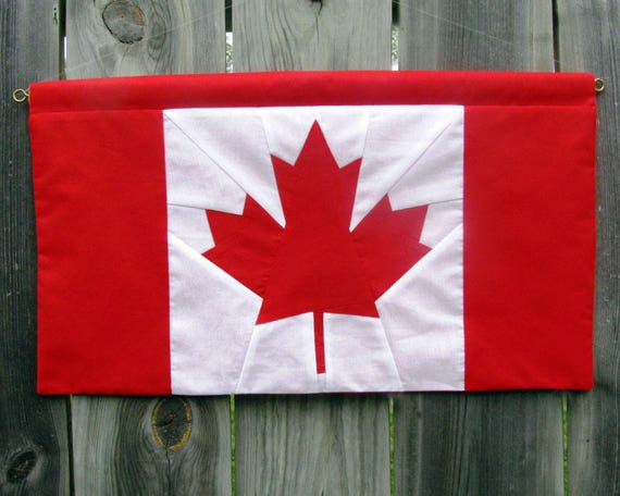 canadian flag banner paper pieced 11 x 20 etsy