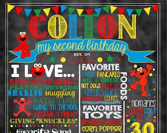"Elmo Birthday Stat ""Chalkboard""(digital poster) BOY OR GIRL Colors"