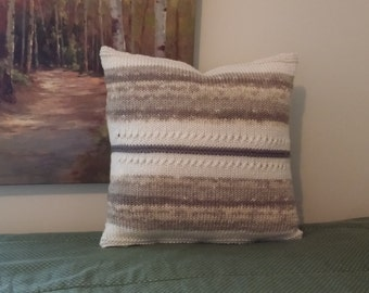 Pillow cover, handknit throw pillow, flower pillow, designer pillow, tan pillow, cream pillow, throw pillow cover, throw pillow