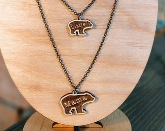 Mama Bear & Little Bear Laser Engraved Necklace Set