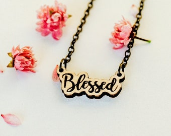 Blessed Script Laser Engraved Necklace